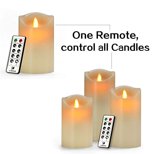 Comenzar-Battery-Operated-5-Inch-6-Inch-7-Inch-Flickering-Flameless-LED-Candles-with-10-Key-Remote-Timer-Set-of-3-0-0