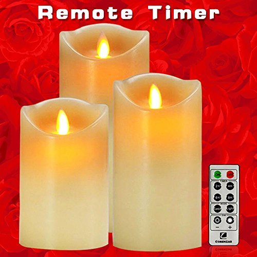 Comenzar-Battery-Operated-5-Inch-6-Inch-7-Inch-Flickering-Flameless-LED-Candles-with-10-Key-Remote-Timer-Set-of-3-0-1