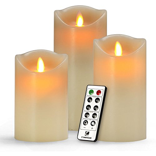 Comenzar-Battery-Operated-5-Inch-6-Inch-7-Inch-Flickering-Flameless-LED-Candles-with-10-Key-Remote-Timer-Set-of-3-0