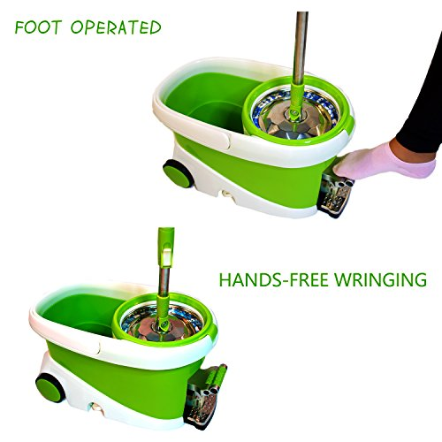 Concise-Home-Stainless-Steel-Easy-Wring-Spin-Mop-and-Bucket-Rolling-System-with-Microfiber-mop-heads-Gift-Box-0-0