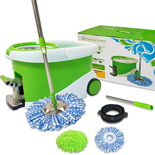 Concise-Home-Stainless-Steel-Easy-Wring-Spin-Mop-and-Bucket-Rolling-System-with-Microfiber-mop-heads-Gift-Box-0