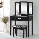 Contemporary-Vanity-Set-with-Tri-Fold-Mirror-and-Zebra-Print-Stool-in-Black-Finish-0