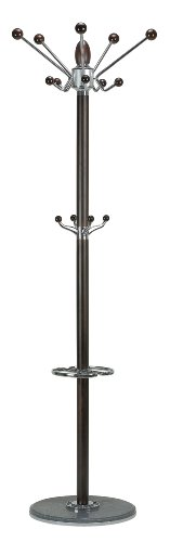 Cortesi-Home-CH-CR420740-Lava-Coat-Rack-with-Marble-Base-ChromeDark-Walnut-0