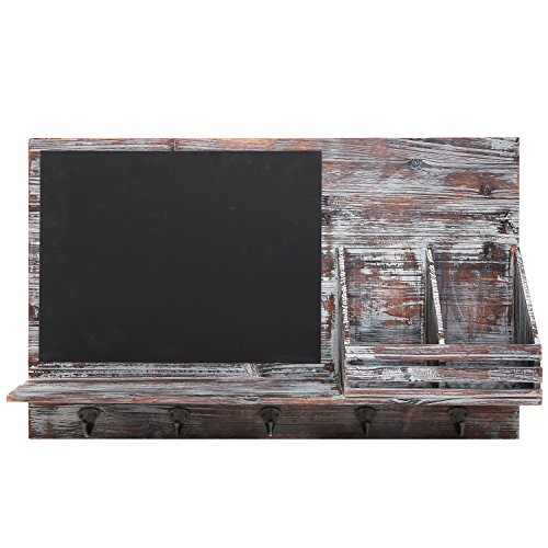 Country-Rustic-Brown-Wood-Wall-Mounted-Entryway-Mail-Sorter-Rack-w-5-Key-Hooks-and-Black-Chalk-Board-0-0