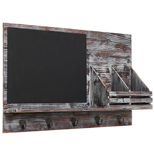 Country-Rustic-Brown-Wood-Wall-Mounted-Entryway-Mail-Sorter-Rack-w-5-Key-Hooks-and-Black-Chalk-Board-0