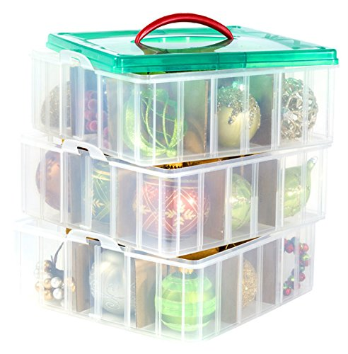 Cristmas-storage-Bundle-Christmas-Plastic-Ornament-Storage-Container-3-Stackable-Snap-Together-Box-Trays-Bundled-with-cloth-0-1