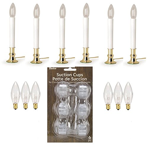 Darice-6206-Brass-Plated-Candle-Lamp-with-Onoff-Sensor-Window-Light-Kit-6-Electric-Candle-Lamps-w-6-Suction-Cup-Holders-and-6-Replacement-Bulbs-0
