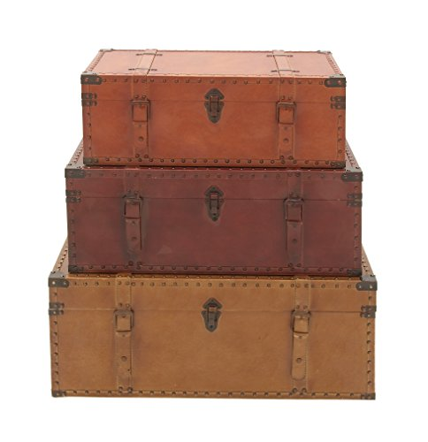 Deco-79-56670-Wood-Leather-Trunks-Set-of-3-322926-0