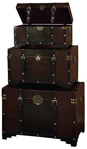 Deco-79-Classic-Old-Time-Leather-N-Wood-Chest-Trunk-Brown-Set-of-3-0