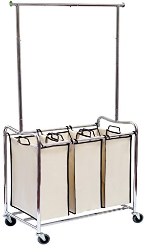 DecoBros-Heavy-Duty-3-Bag-Laundry-Sorter-Cart-with-Hanging-Bar-0-0