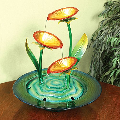 Decorative-Glass-And-Metal-Poppies-Indoor-Water-Fountain-0