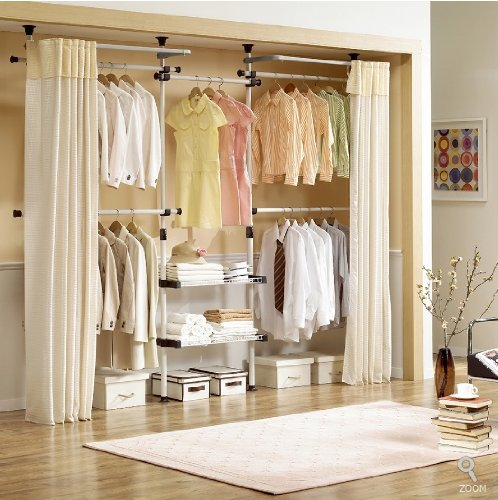Deluxe-4-Tier-Shelf-Hanger-with-Curtain-Clothing-Rack-Closet-Organizer-0