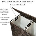 Designer-Wicker-Laundry-Hamper-with-Divided-Interior-and-Laundry-Basket-Bags-Espresso-Water-Hyacinth-Hamper-with-Lid-Includes-Two-Removable-Laundry-Liners-and-Delicates-Mesh-Laundry-Bag-0-0