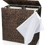 Designer-Wicker-Laundry-Hamper-with-Divided-Interior-and-Laundry-Basket-Bags-Espresso-Water-Hyacinth-Hamper-with-Lid-Includes-Two-Removable-Laundry-Liners-and-Delicates-Mesh-Laundry-Bag-0