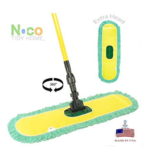 Dust-Mop-24-with-Industrial-Telescopic-Handle-and-2-Laundry-Ready-Dry-Floor-Microfiber-Yarn-Heads-Includes-Patented-360-Swivel-Quick-Connect-Made-in-the-USA-by-Noco-Tidy-Home-TM-0