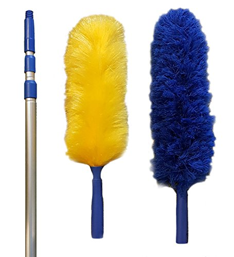 Duster-Extension-18-20-foot-Reach-Pest-Control-Duster-Cobwebs-Computer-Duster-Static-Duster-Microfiber-Duster-Knuckle-Duster-2-Different-Dusters-and-Extension-Rod-Best-Value-on-Amazon-0