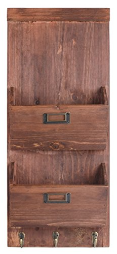 Dwellbee-DB-045-2-Tier-Pine-Wood-Rustic-Wall-Storage-and-Mail-Sorter-with-Key-Rack-0-0