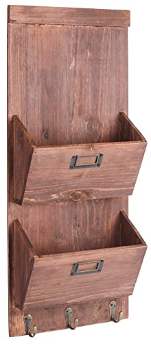 Dwellbee-DB-045-2-Tier-Pine-Wood-Rustic-Wall-Storage-and-Mail-Sorter-with-Key-Rack-0