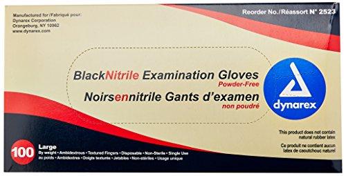Dynarex-2523-Nitrile-Exam-Gloves-Large-Black-Pack-of-100-0