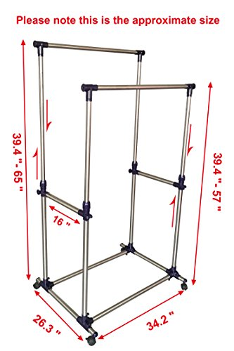 EWEIS-HomeWares-Premium-Heavy-Duty-Double-Rail-Adjustable-Telescopic-Rolling-Clothing-and-Garment-Rack-0-1