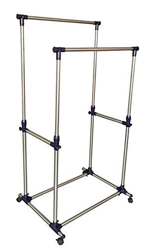 EWEIS-HomeWares-Premium-Heavy-Duty-Double-Rail-Adjustable-Telescopic-Rolling-Clothing-and-Garment-Rack-0
