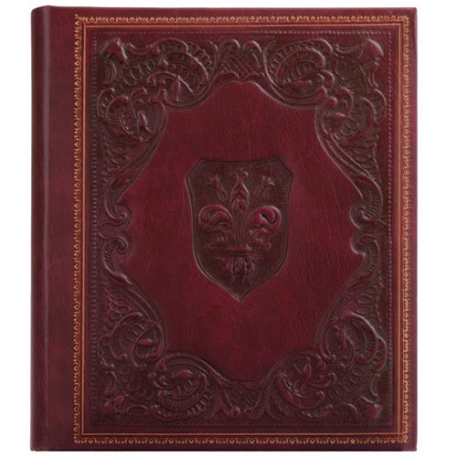 Eccolo-Made-In-Italy-Medici-Embossed-Album-Scrapbook-With-30-Ivory-Pages-Burgundy-0