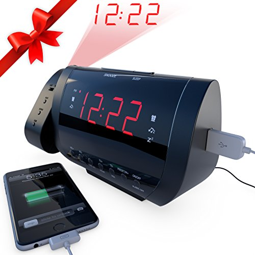 Edge-Pro-Alarm-Clock-Radio-with-Time-Projection-and-USB-Charger-0