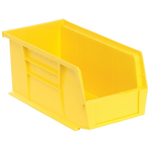 Edsal-PB8502Y-High-Density-Stackable-Plastic-Bin-5-Width-x-5-Height-x-11-Depth-Yellow-Pack-of-12-0