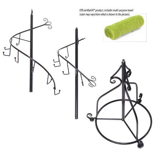 Elegant-Black-Metal-14-Hook-Spiral-Coat-Hanger-Bag-Display-Garment-Rack-Stand-0-1
