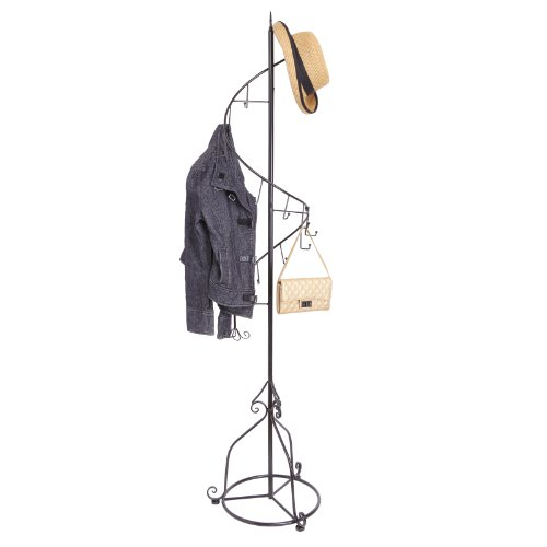 Elegant-Black-Metal-14-Hook-Spiral-Coat-Hanger-Bag-Display-Garment-Rack-Stand-0