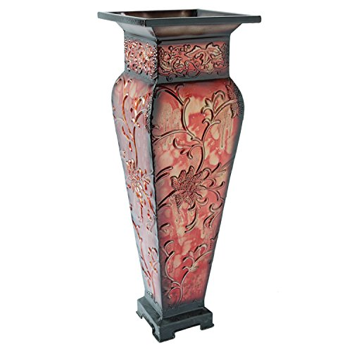 Elegant-Expressions-by-Hosley-Tall-Embossed-Vase-Red-0