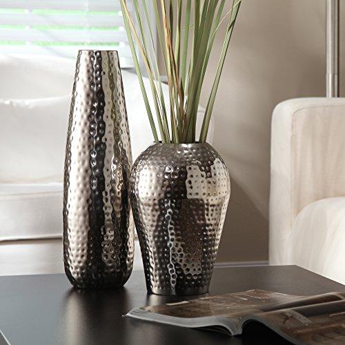Elegant-Expressions-by-Hosley-Teardrop-Hammered-Metal-Vase-Silver-0-0