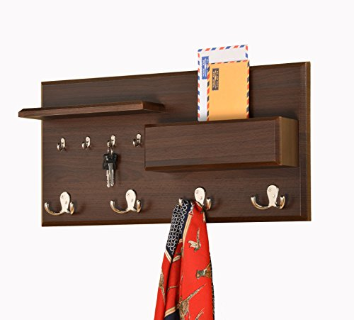 Entryway-Coat-Rack-Mail-Envelope-Storage-and-Key-Holder-Hooks-in-Cappuccino-Finish-0-0