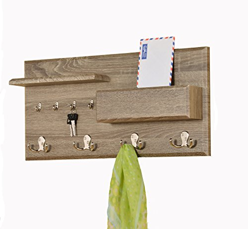 Entryway-Coat-Rack-Mail-Envelope-Storage-and-Key-Holder-Hooks-in-Dark-Sonoma-Finish-0-0