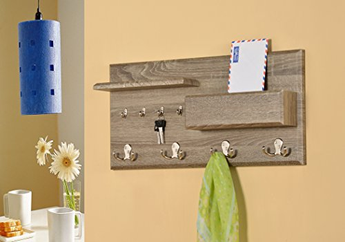 Entryway-Coat-Rack-Mail-Envelope-Storage-and-Key-Holder-Hooks-in-Dark-Sonoma-Finish-0