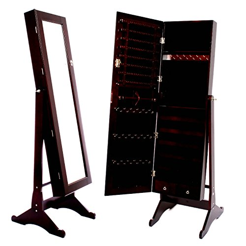 Espresso-Dark-Brown-Mirrored-Jewelry-Cabinet-Armoire-Stand-Mirror-Necklaces-Bracelets-Rings-0