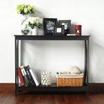Espresso-Finish-3-Tier-X-Design-Occasional-Console-Sofa-Table-Bookshelf-0-0
