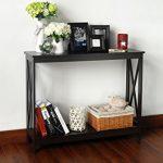 Espresso-Finish-3-Tier-X-Design-Occasional-Console-Sofa-Table-Bookshelf-0