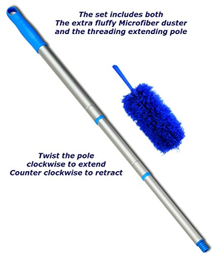 Everything-Wedding-and-Beyond-22-inch-Bendable-Fluffy-Blue-Microfiber-Cleaning-Duster-and-a-Lightweight-Threaded-Extendinging-23-Inches-to-4-Feet-Long-Pole-Kit-The-Total-Length-of-Duster-and-the-Pole–0-0