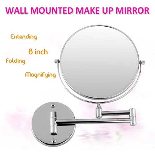 Excelvan-8-Inch-Two-Sided-Swivel-Wall-Mount-Magnifying-Makeup-Mirror-12-Inch-Extension-Chrome-Finished-0-0