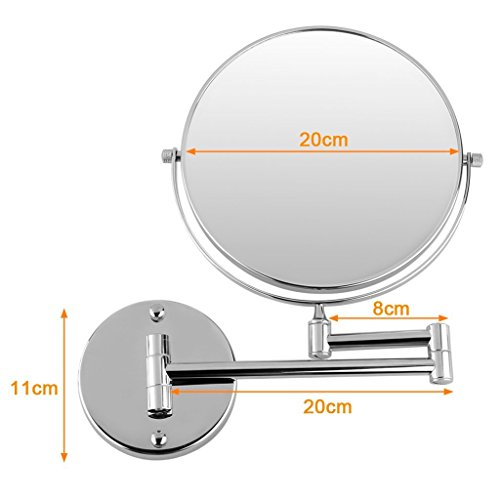 Excelvan-8-Inch-Two-Sided-Swivel-Wall-Mount-Magnifying-Makeup-Mirror-12-Inch-Extension-Chrome-Finished-0-1