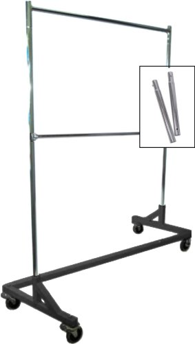 Extended-Height-Double-Rail-Rolling-Z-Rack-Garment-Rack-with-Nesting-Black-Base-0
