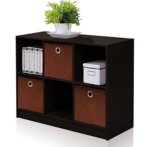 FURINNO-99940GYWBK-French-Oak-Basic-Bookcase-Storage-with-Bins-3-x-2-GreyBlack-0