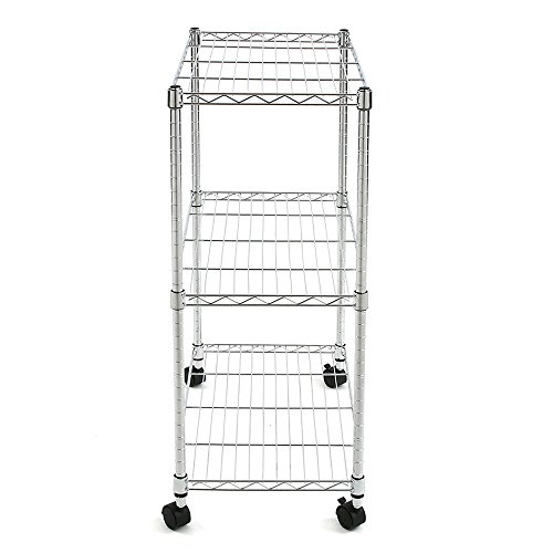 Finnhomy-3-Tier-Heavy-Duty-Wire-Rack-Shelving-with-WheelsMetal-Adjustable-Rolling-NSF-Shelving-UnitThicken-Steel-Tube-Chrome-0-0