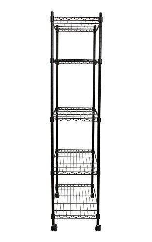 Finnhomy-5-Shelves-NSF-Adjustable-Steel-Wire-Unit-Shelving-Wire-Shelving-Storage-Rack-with-Wheels-Black-0-0