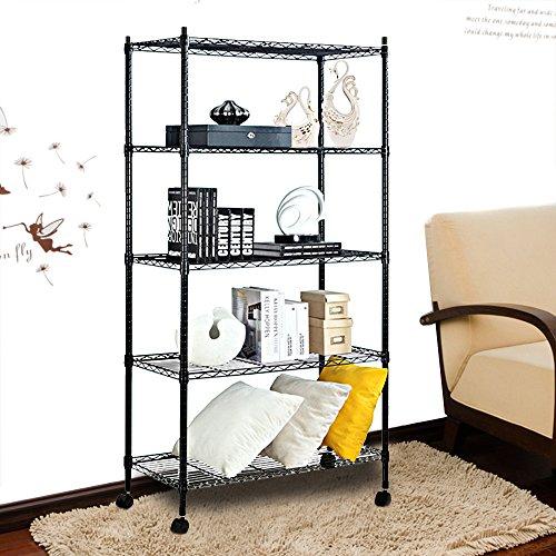 Finnhomy-5-Shelves-NSF-Adjustable-Steel-Wire-Unit-Shelving-Wire-Shelving-Storage-Rack-with-Wheels-Black-0-1