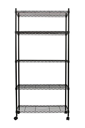 Finnhomy-5-Shelves-NSF-Adjustable-Steel-Wire-Unit-Shelving-Wire-Shelving-Storage-Rack-with-Wheels-Black-0