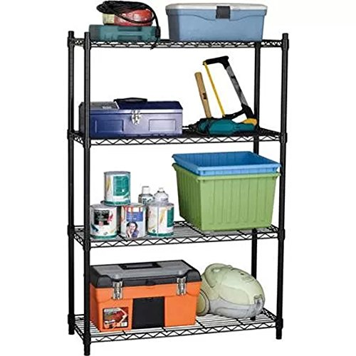 Finnhomy-Heavy-duty-Steel-Wire-Shelving-Unit-with-Stable-Leveling-Feet-4-Shelves-Black-0-0