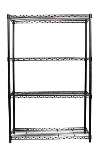 Finnhomy-Heavy-duty-Steel-Wire-Shelving-Unit-with-Stable-Leveling-Feet-4-Shelves-Black-0-1