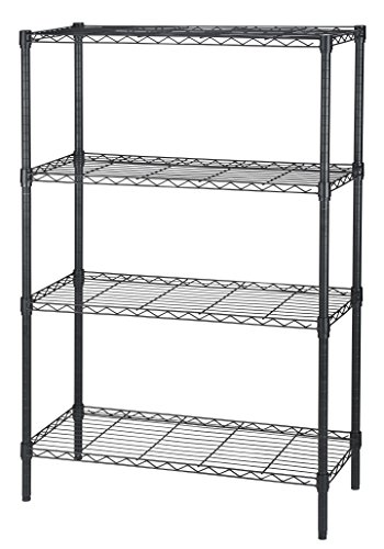 Finnhomy-Heavy-duty-Steel-Wire-Shelving-Unit-with-Stable-Leveling-Feet-4-Shelves-Black-0